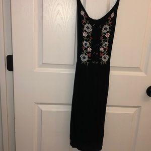 Abercrombie & Fitch Black Flower Lace Up Dress
